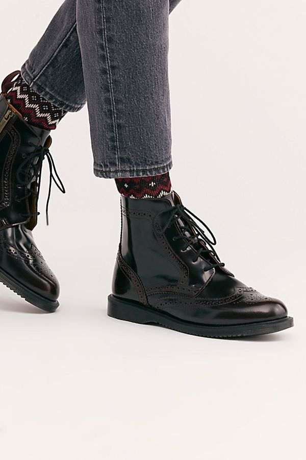a3e5e1b0979 Dr. Martens Delphine 8 Eye Brogue Boot - Patent Leather Doc Martens - Black  Patent Leather Boots - Black Doc Martens - Patent Leather Boots
