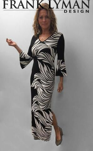 Frank Lyman 2017. Maxi dress with stylish belle sleeve. Proudly Made in Canada