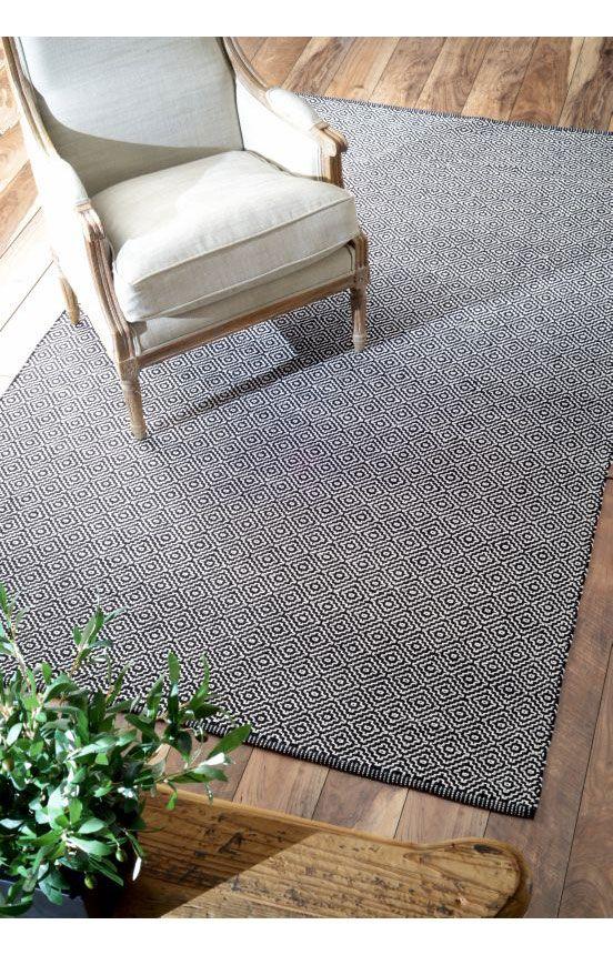 Rugs Usa Chalet Diamond Cotton Check Flatwoven Black Rug