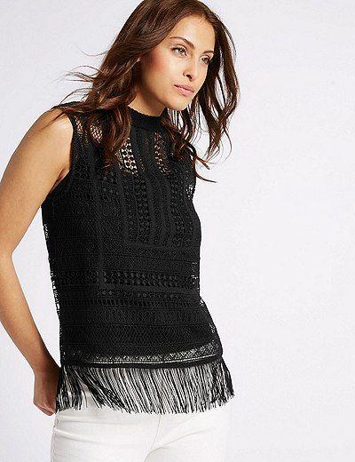 Lace Fringe Round Neck Sleeveless Shell Top | Marks & Spencer London