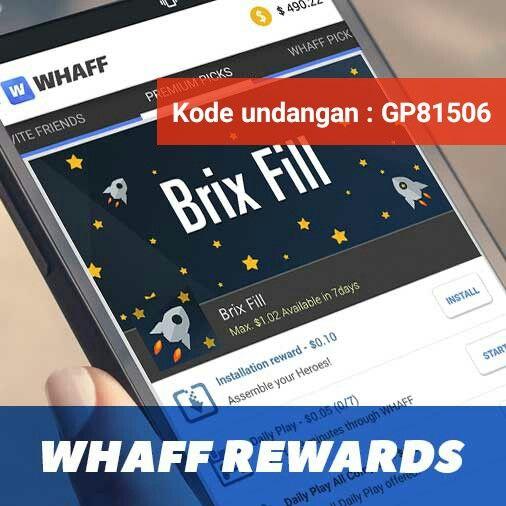Ayo instal aplikasi whaff rewards di hp mu.jangan lupa masukan kode undangan nya ya 😊