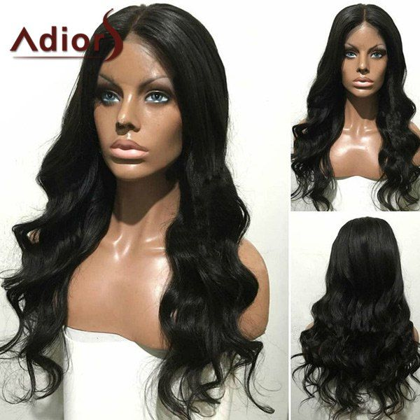 Wholesale Adiors Long Center Part Wavy Synthetic Wig BLACK , Synthetic Wigs - Rosewholesale
