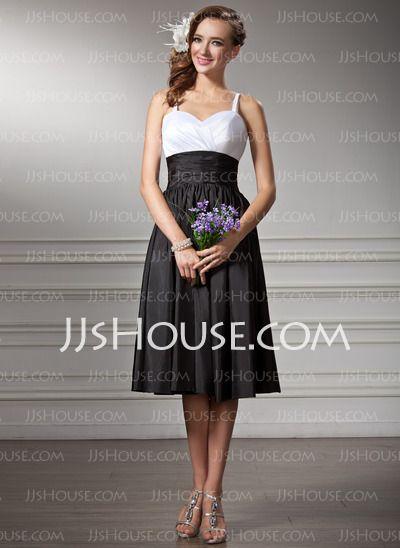 Bridesmaid Dresses - $94.99 - A-Line/Princess Sweetheart Tea-Length Taffeta Bridesmaid Dresses With Ruffle (007001830) http://jjshouse.com/A-line-Princess-Sweetheart-Tea-length-Taffeta-Bridesmaid-Dresses-With-Ruffle-007001830-g1830
