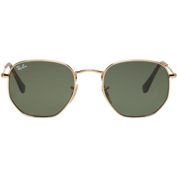 Ray-Ban Gold Hexagonal Flat Sunglasses ($150) ❤ liked on Polyvore featuring men's fashion, men's accessories, men's eyewear, men's sunglasses, gold, mens gold sunglasses, ray ban mens sunglasses, mens tortoise shell sunglasses, mens flat top sunglasses and mens round sunglasses