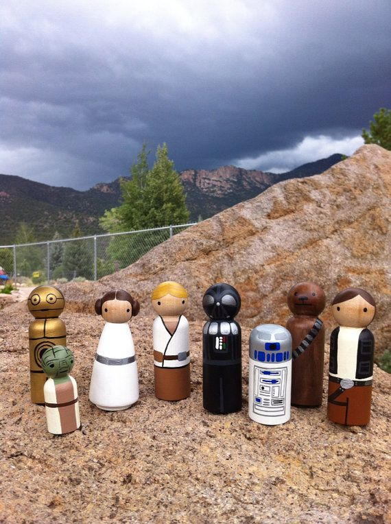 Star Wars Peg People PegBuddies Doll figurines Darth by PegBuddies, $64.00