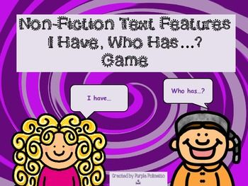 This a fun looping game for non fiction/informational text terms that will engage learners while encouraging thinking skills.  Game includes 20 colorful game cards,  instruction page, four game card blanks, and an answer key.    * * Great review for my Non Fiction Test (Text Features and Text Structures).  **THIS PRODUCT CAN BE PURCHASED AS PART OF A LARGER BUNDLE.**  If you and your students like this game, try other products by Purple Palmetto:  Non Fiction Test (Text Features and ...