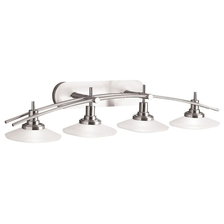 Kichler Bathroom Light with White Glass in Brushed Nickel Finish at Destination Lighting