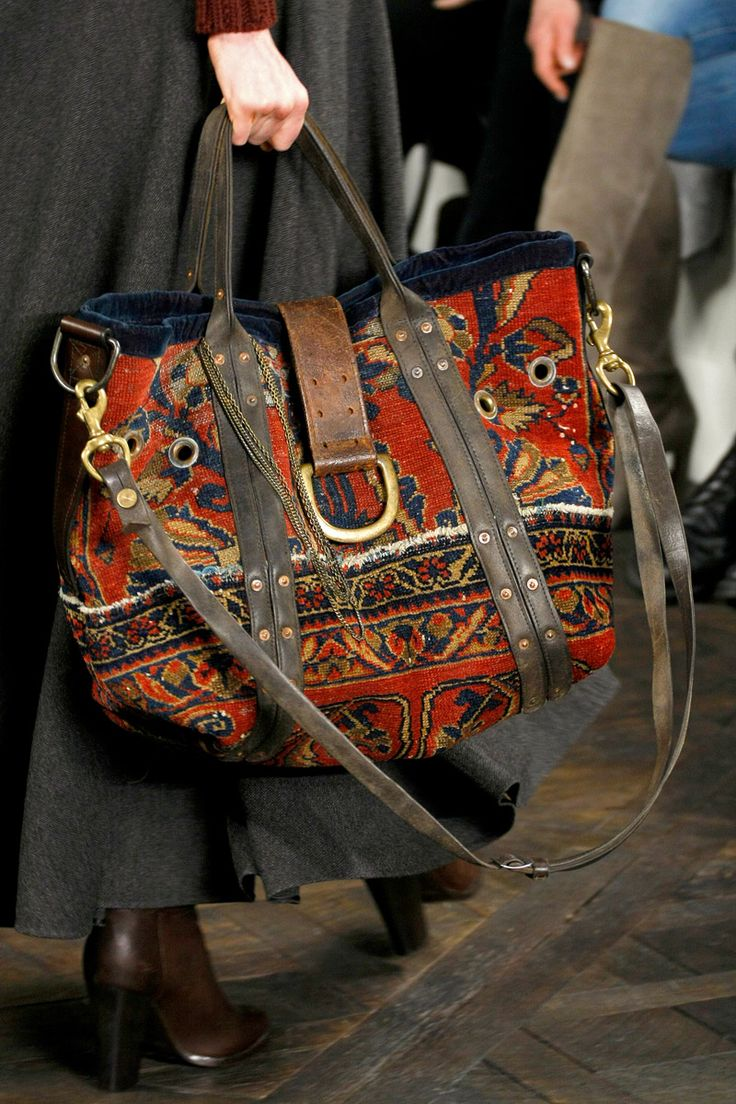 I wonder if I could make one of these? Ralph Lauren Carpet Bag.... New York Fashion Week