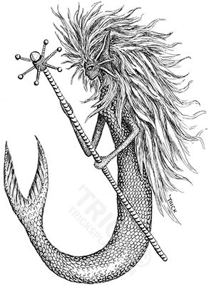 Mermaid with a Staff (looking left). Pen and Ink Line Art by 'Trick! TricksPlace.com