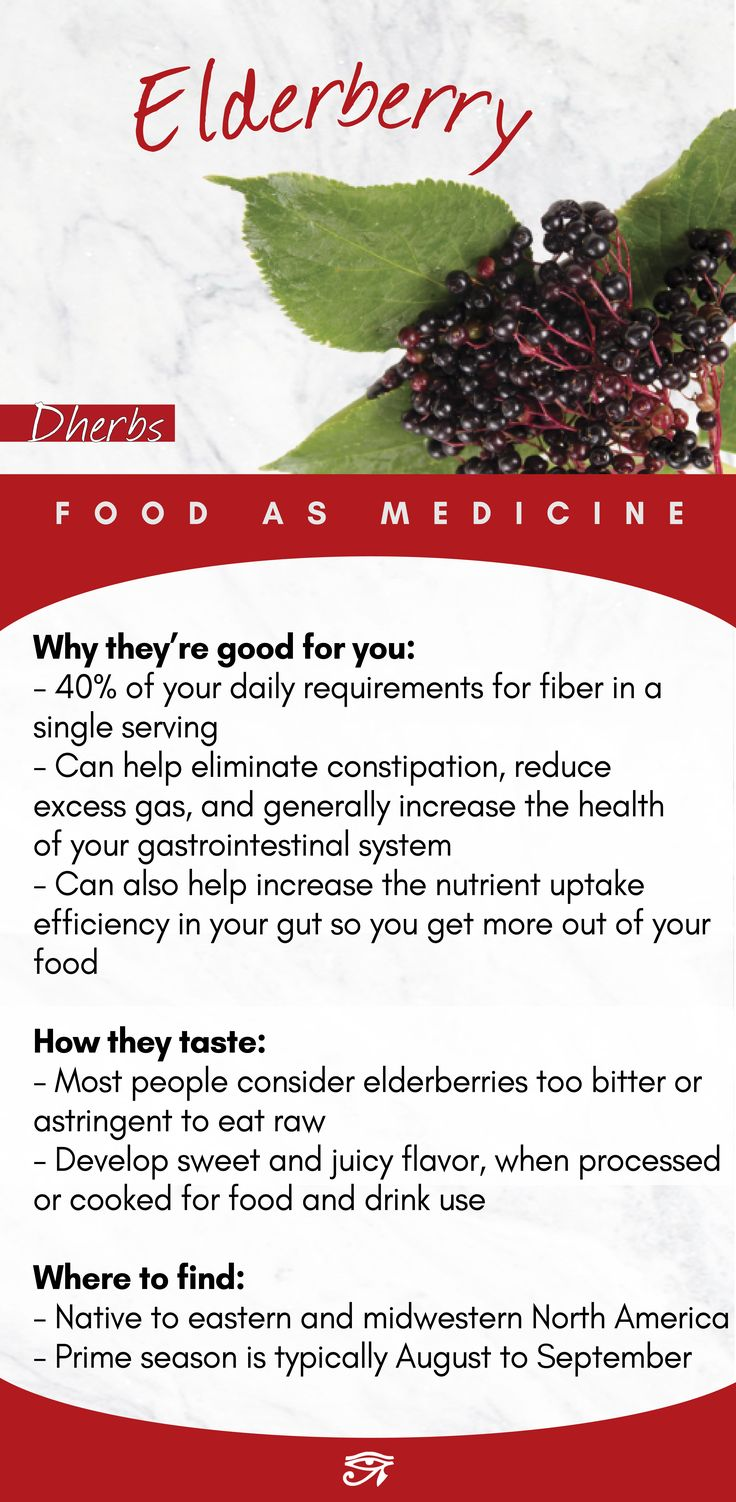 Why they're good for you:  – 40% of your daily requirements for fiber in a  single serving – Can help eliminate constipation, reduce  excess gas, and generally increase the health  of your gastrointestinal system – Can also help increase the nutrient uptake  efficiency in your gut so you get more out of your  food  How they taste:  – Most people consider elderberries too bitter or  astringent to eat raw – Develop sweet and juicy flavor, when processed or cooked for food and drink useDherbs | Natural Health Info & Herbal Cleanse & Supplements