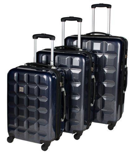 Familien Reisetrolley-Set - Bestehend aus 3 Reisetrolleys: 28, 24 und 20 Zoll - Teleskopgriff - Verschiedenes Design: von klassisch bis cool - In vielen Farben (3er Set mit Hartschale Quadrat Grau)