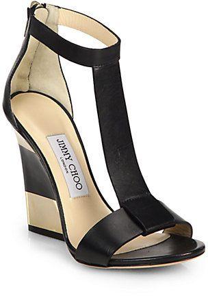 Jimmy Choo Leather T-Strap Platform Wedge Sandals on shopstyle.com