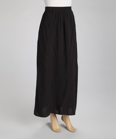 Take a look at this Black Pocket Maxi Skirt by Olive & Oak on #zulily today!