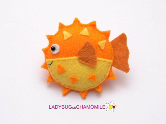 Fieltro pez globo, rellenada fieltro criatura del mar, decoración para el hogar, juguete de pez globo imán o Adorno, lindo pez globo, pez globo, pez globo decoración