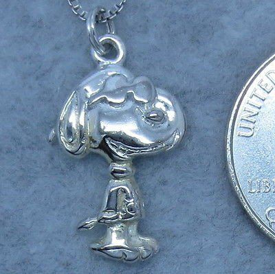 "Joe Cool pendant is 1"" tall from the top of the ring. Snoopy measures 3/4"" x 1/2"" without the attaching ring. Snoopy weighs 2.1g without the chain. Snoopy plus chain weighs 4.9g. Please look at the ph"