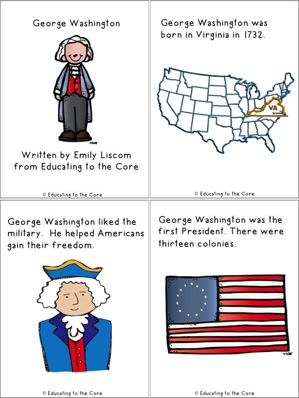 George Washington Mini-Book FREEBIE from Education to the Core!