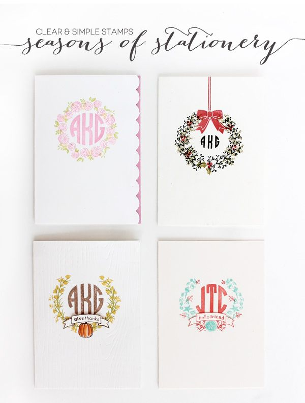 Seasons of Stationery | Damask Love Blog | using Clear and Simple Stamps Alpha Monogram Mini and Build-a-Wreath Series - full supply list on blog