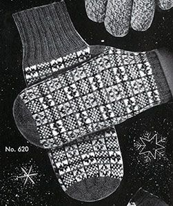 Link to download the FREE  knitting pattern for Men's Fair Isle Mittens knit pattern published in Gloves and Mittens, Bernhard Ulmann #29.