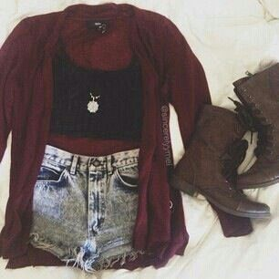 maroon cardigan, black crop top, acid wash denim high waisted shorts, distressed brown combat boots, spring, could add black tights for fall, comfy, cute: