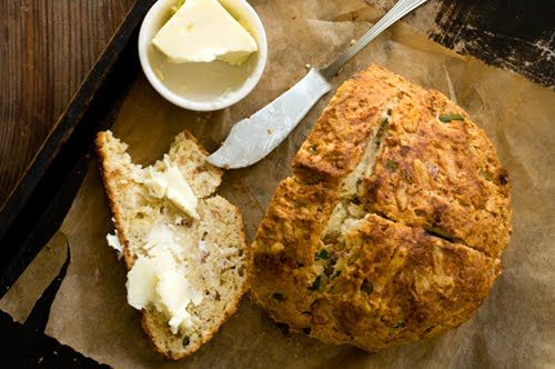 From the homesick texan: Irish cheddar and bacon soda bread. I made this for St. Patricks day this year. It was absolutely delicious and very moist.