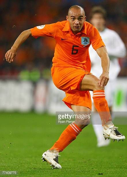 Demy de Zeeuw of the Netherlands in action during the Euro 2008 Group G qualifying match between The Netherlands and Slovenia at Philips Stadium on...