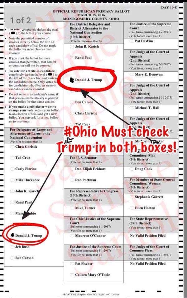 """Ohio Republican Ballot Creating Confusion…  The Last Refuge   3.8.16  """"The Ohio Republican ballot for president is causing some confusion as outlined within this video: Is the ballot intentionally confusing by design? Given the previous discussions on State Party shenanigans, and the intent of state republican party leadership to hold complete influence over their delegate's decision-making, many believe the answer is """"probably""""."""" ~ PAY ATTENTION TO YOUR BALLOTS!!!"""