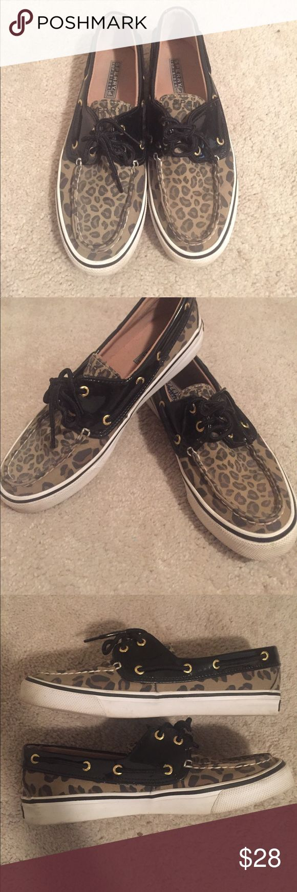 Leopard sperrys Leopard sperrys. Used but in good condition. Black patent detail Sperry Top-Sider Shoes Flats & Loafers