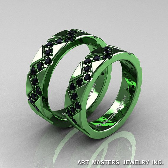 Classic Armenian Military 14K Green Gold Black by artmasters, $2599.00