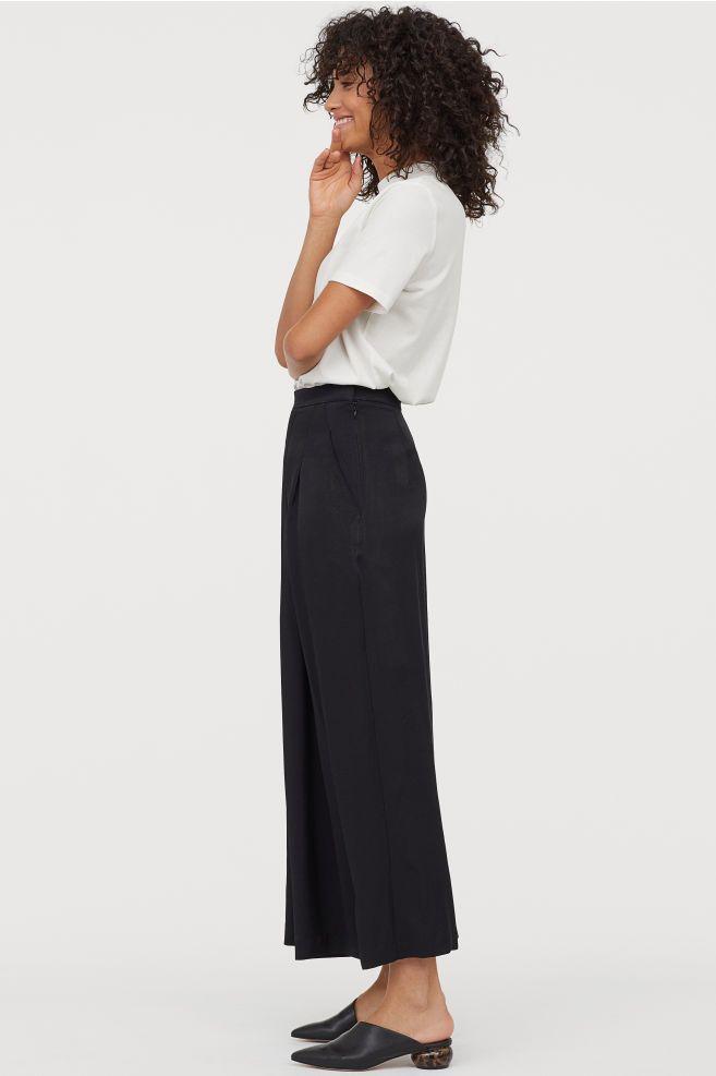 Wide leg Pants Black Ladies | H&M US | Vide bukser