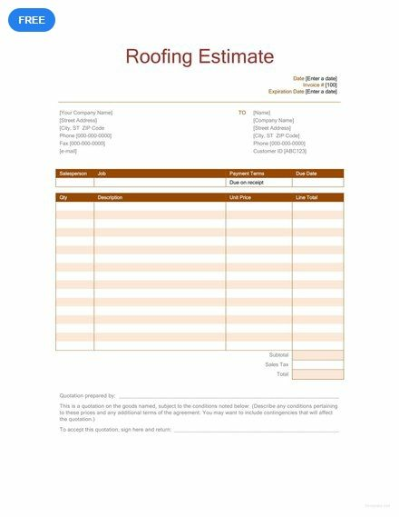 free roofing estimate sheet templates designs 2019 pinterest
