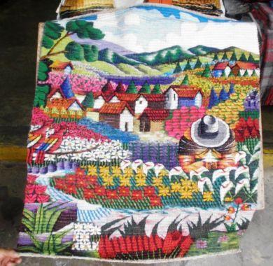 Traditioneller #handgewebter #Motivteppich,#Blumenfeld in #Cusco, 120 x 100 cm