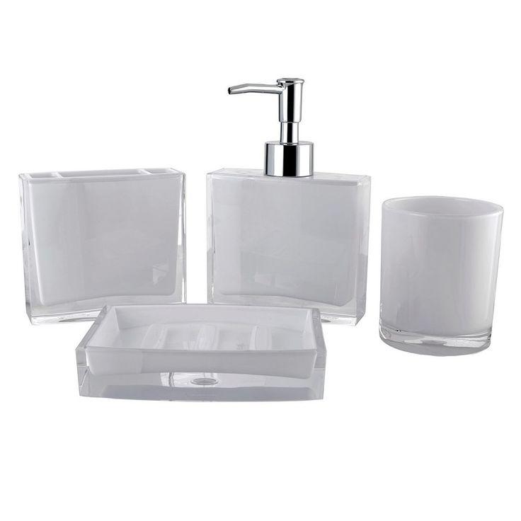 Contemporary 4-piece Bathroom Accessories Set, White