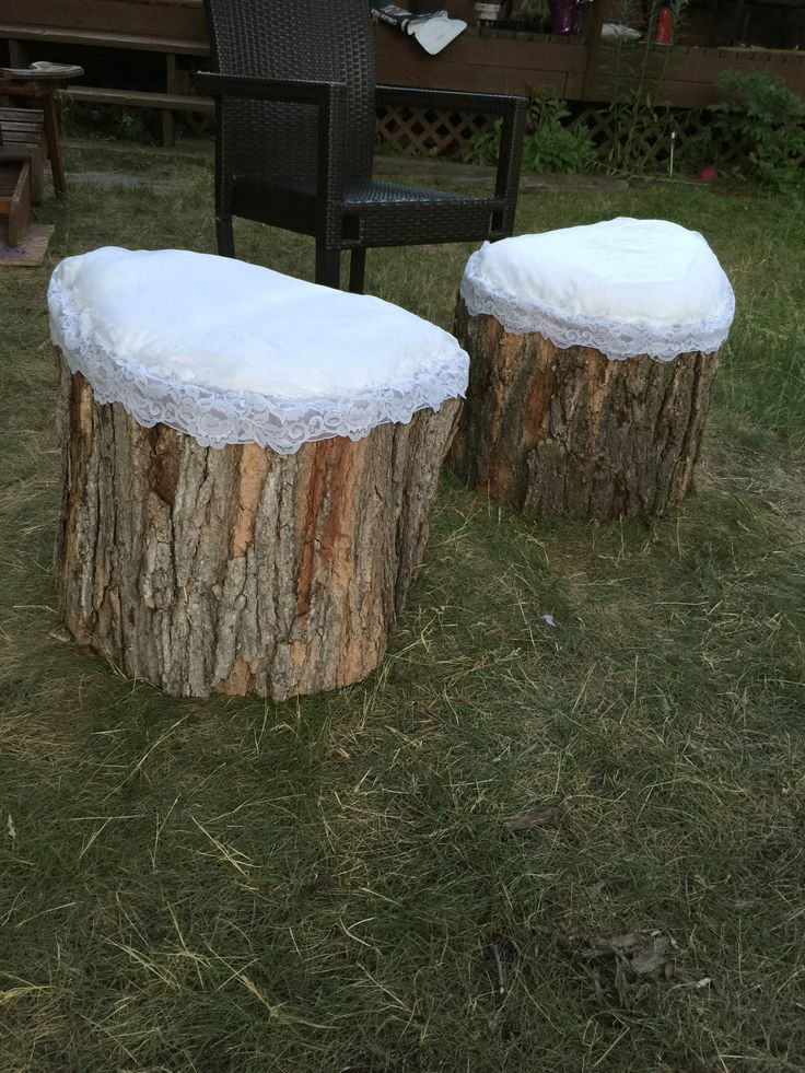 Stumps made with my moms old wedding dress to be used at my future sister-in-law's bridal shower
