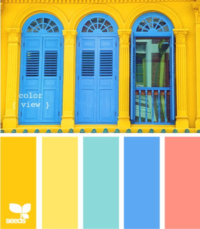 Color View. Converted to Sherwin-Williams colors using ColorSnap app for iPhone: Carnival SW 6892, Bee SW 6683, Calypso SW 6850, Dynamic Blue SW 6958, Gladiola SW 6875
