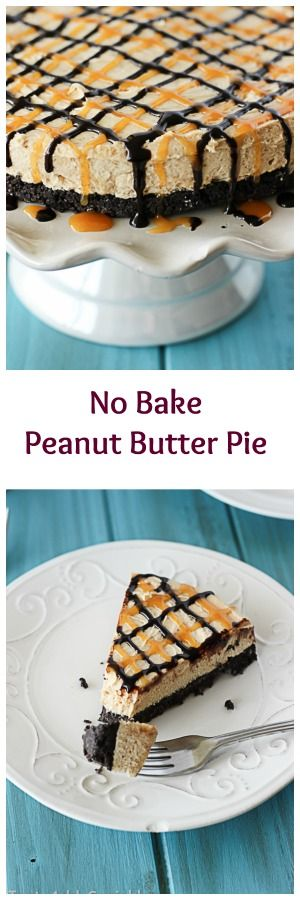 Completely no bake - this pie has a thick cookie crust, a creamy peanut butter filling and a chocolate-caramel lattice drizzle