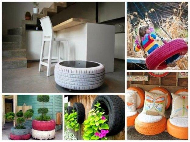 Idee originali - Con il riciclo creativo dei pneumatici usati è possibile realizzare oggetti, mobili e complementi d'arredo per tutte le esigenze e tutti gli ambienti di casa. Dai pouf ai tavolini, dalle fioriere alle altalene, dalle poltrone ai vasi pensili. D'ora in avanti anziché lasciare i pneumatici dal gommista portateli a casa. Con un po' di ingegno e creatività riprenderanno vita sotto nuove spoglie. Ecco allora le idee più originali per riciclare i vecchi pneumatici in modo…
