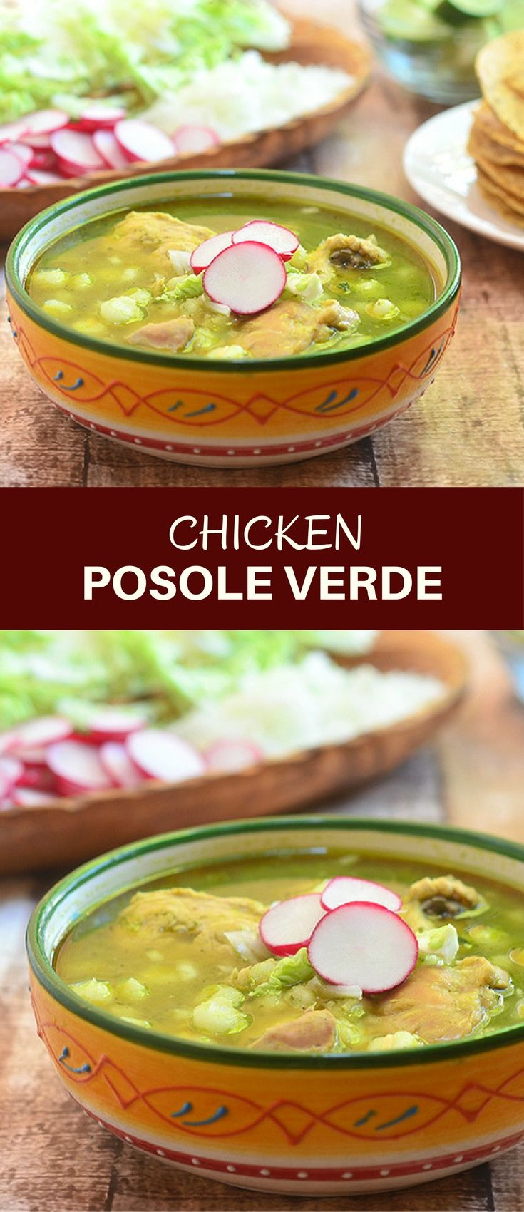 Mexican Chicken Posole Verde with tender chicken, hominy, and flavorful tomatillo sauce is a hearty soup bursting with Mexican flavors. Serve with crunchy tostadas and all the trimmings for a satisfying meal!