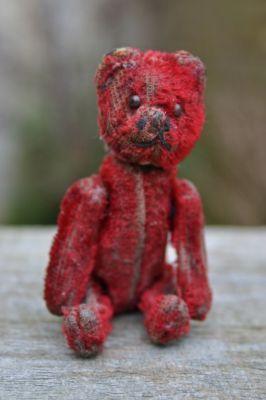 RARE OLD VINTAGE ANTIQUE SCHUCO MINIATURE 3½ SCARLET RED TEDDY BEAR 1920-30s