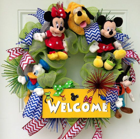 Mickey Mouse Welcome Wreath on Etsy, $125.00