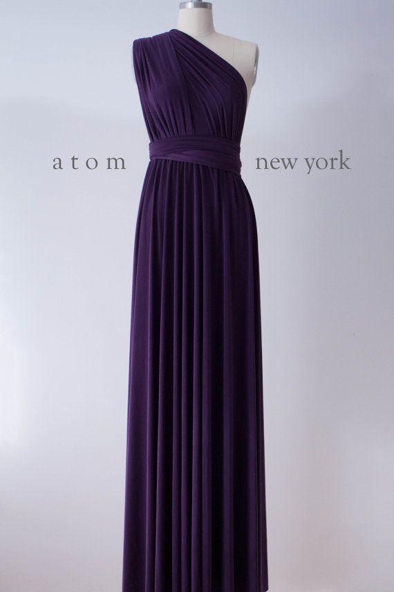 Dark Purple Grape Floor Length Ball Gown Long Maxi Infinity Dress Convertible Formal Multiway Wrap Dress Bridesmaid Dress Evening Dress