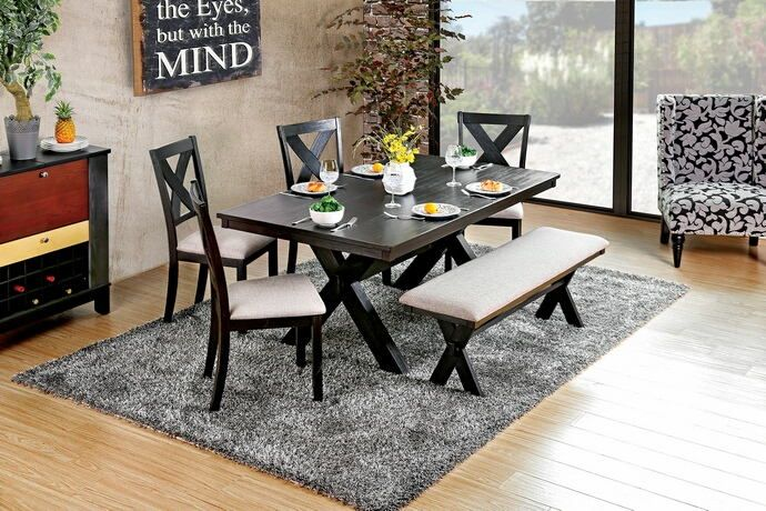 Admirable Cm3172T 6Pc 6 Pc Xochil Brushed Black Finish Wood Dining Pdpeps Interior Chair Design Pdpepsorg