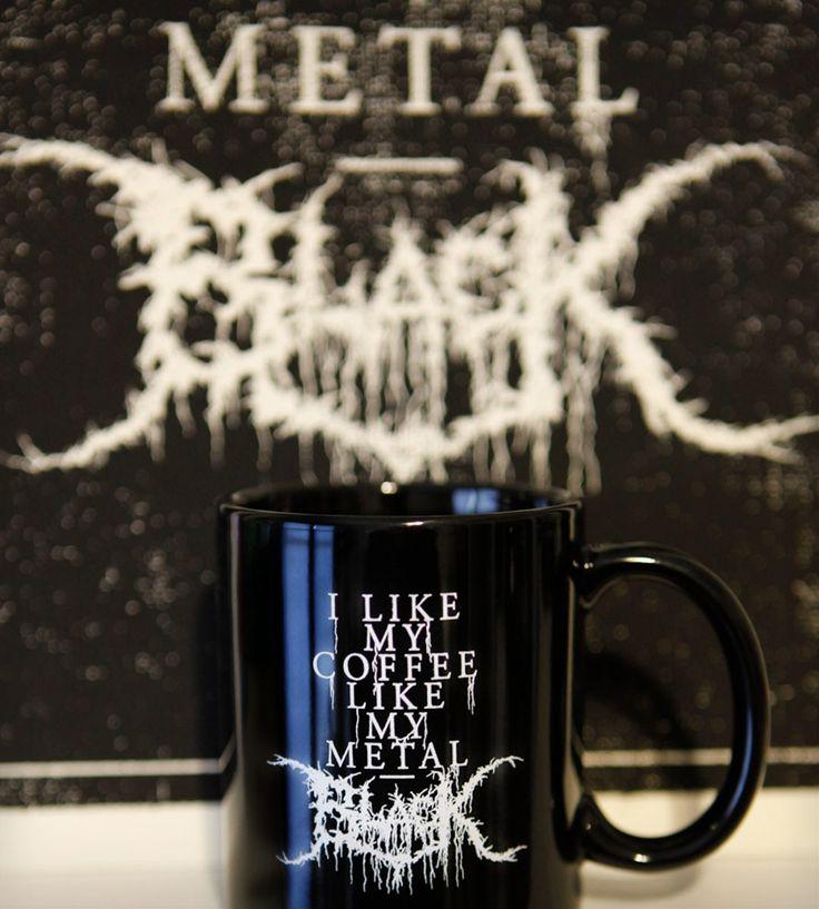 Black Metal Coffee Mug Rock your coffee $14