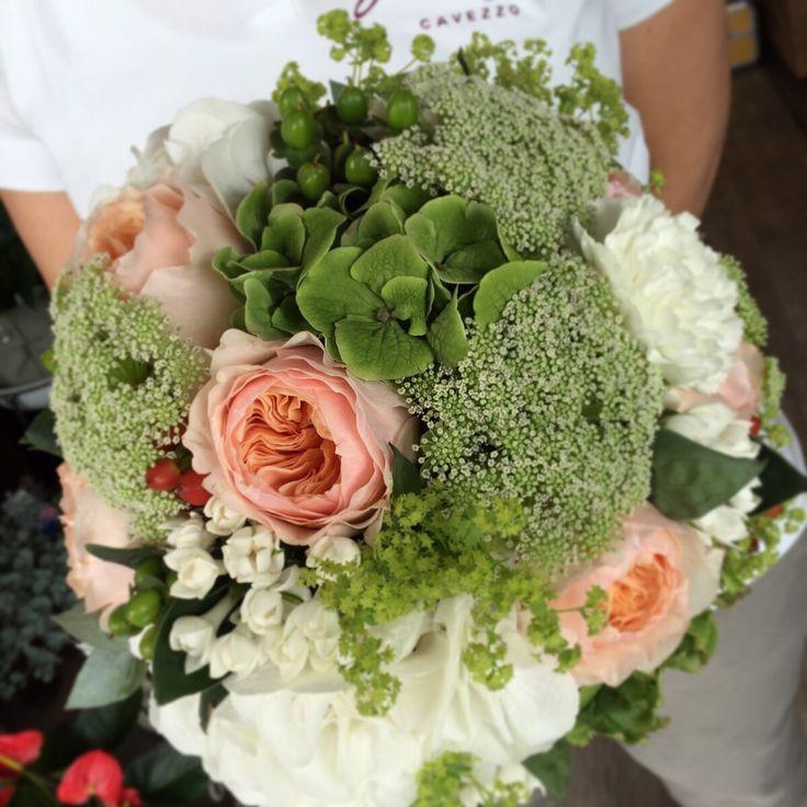 Wedding bouquet hortensia, David Austin roses by Fiori&co.