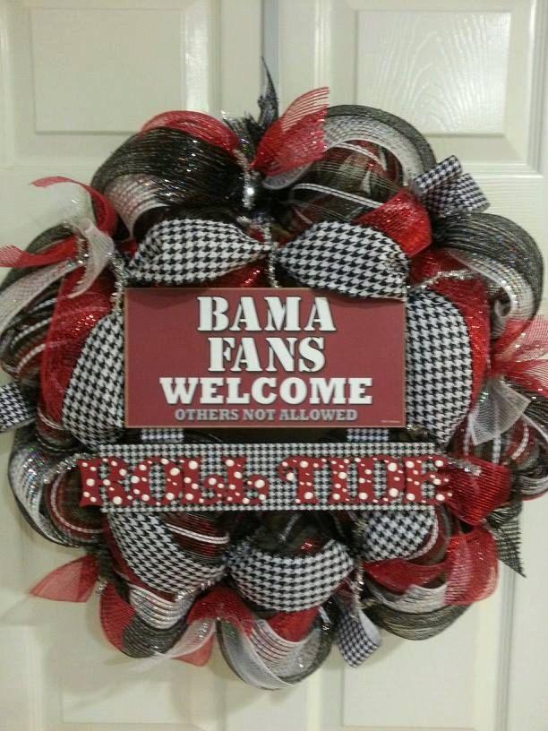 Handmande Roll Tide Alabama Deco Mesh Wreath by CraftzbyDenise, $80.00
