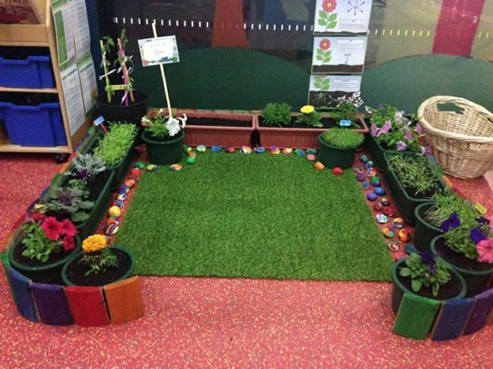 Classroom corner garden.  What an appealing space!