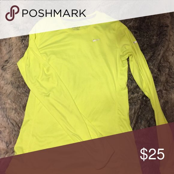 Long sleeve neon yellow Nike  top Long sleeve neon yellow top. Made by Nike Nike Tops Tees - Long Sleeve