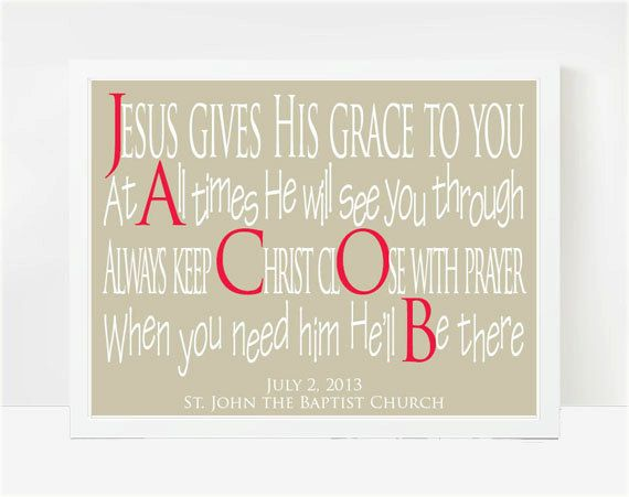 Personalized Baptism Gifts, 8x10 Print, Catholic Baptism Gifts, Christian Baptism Gifts, Jacob on Etsy, $25.00