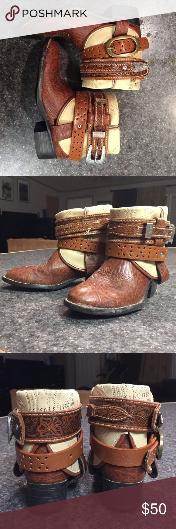 """Kid's size 10.5 refashioned Laredo cowboy boots Got a Lil cowgirl who likes to look sharp while getting the job done? These are the """"Lash LaRue Buckaroo"""" boots...size 10.5 perfect for a 4-6 year old. These a NEW Laredo leather cowboy boots with a makeover using tooled leather and vintage belts. Get them in time for Christmas!!! Laredo Shoes Boots"""