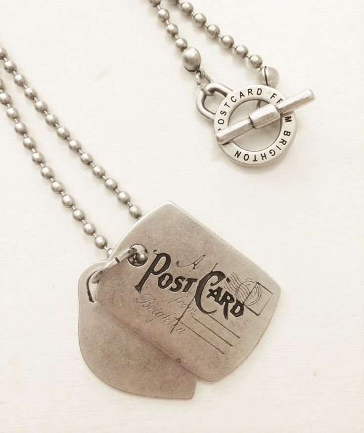 A Postcard From Brighton Dog Tag Necklace   http://www.cove-online.com/Gifts+Accessories-Jewellery/c2_41/p1299/A-Postcard-From-Brighton-Dog-Tag-Necklace/product_info.html