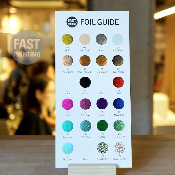 Fast printing foil guide 2016 is now ready for our valuable customers 24 different standard foil colours available 01 gold 02 matt gold 03 silver 04